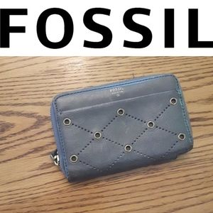 fossil gray blue leather zip up wallet